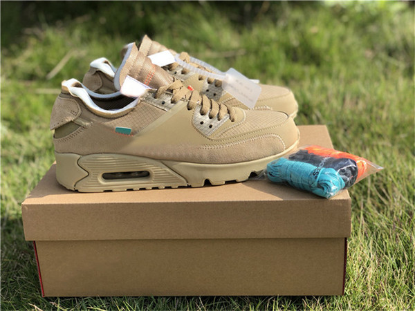 2019 Authentic Air Off 90Max 90 Black Cone White Suede Running Shoes Man Woman Desert Ore Sneakers AA7268-001 Size 36-45 opo3