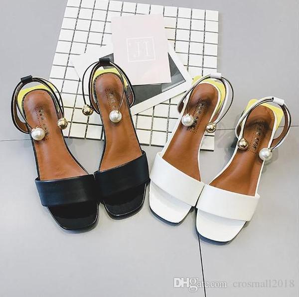 Charm2019 Slip On Sandalias de tacón de mujer Tacón grueso Verano Patchwork Suela de hebilla de tobillo Envoltura Bombas de perlas Dedos cuadrados Zapatos solos