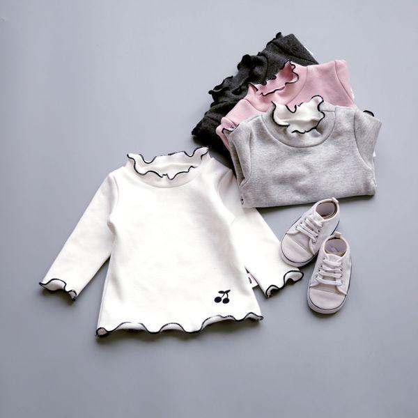 Fashion Thicken Autumn Winter Baby Girls T Shirt Turtleneck Ruffles Long Sleeve Bottoming Shirts for Girl Cotton Kids T-shirt