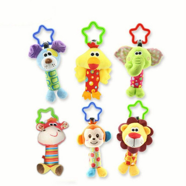 best selling New Baby Kids Rattle Toys Cartoon Animal Plush Hand Bell Baby Stroller Crib Hanging Rattles Infant Baby Toys Gifts