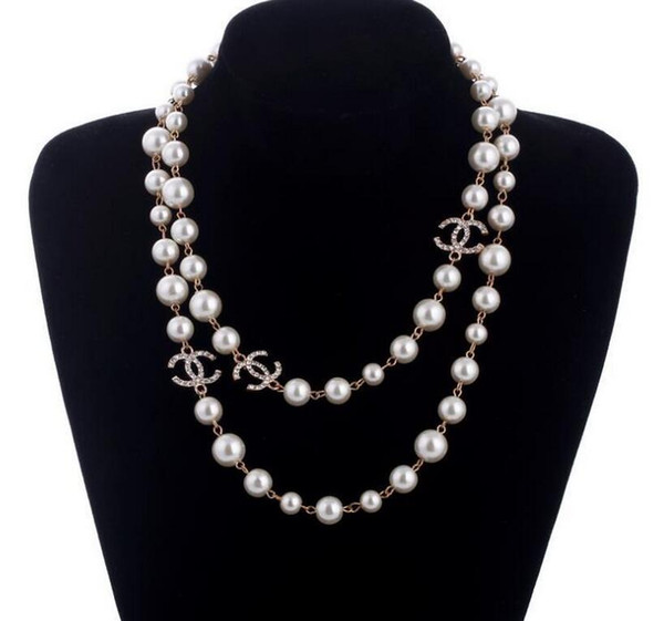 New Long Sweater Chain Collar Maxi Necklace Simulated Pearl Flowers Necklace Women Fashion Jewelry Bijoux Femme Christmas Gifts