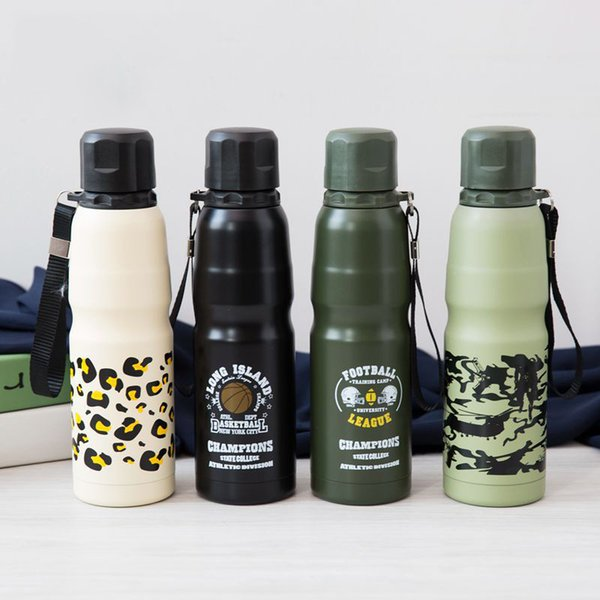 Mountaineering sports bottle 500ML camouflage stainless steel vacuum flask outdoor sports water cup camping factory wholesale