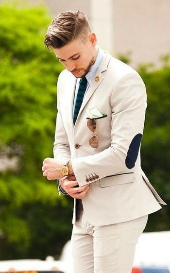 2017 Latest Designs Beige Groom Tuxedos elbow patches 2 Pieces Wedding Prom Dinner Suits For Men Italian Man Suit Blazer #492937