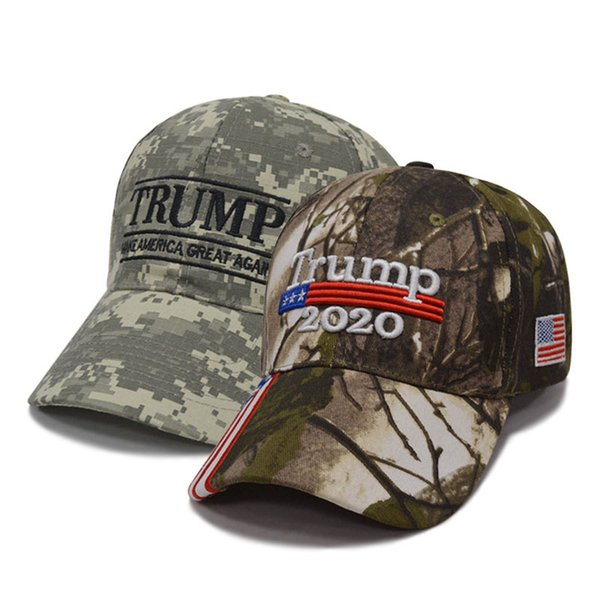 Fashion Trump Adjustable Baseball Cap Outdoor Creative Embroidery Camouflage Sun Hat Unisex Travel Beach Couple Ball Cap Party Hats WX9-1389
