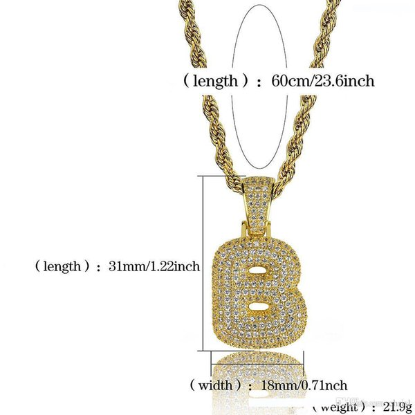 hip hop costom iced out costom bubble letters pendant necklace micro pave zircon with rope chian diy jewelry gift ieda