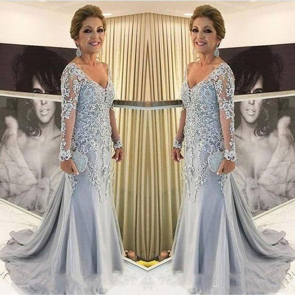 Grey Mermaid Mother Of The Bride Dresses Sheer Long Sleeves New 2019 V-Neck Lace Beaded applique Groom Mothers Dresses Evening Party Gowns