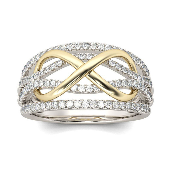 New Design Silver Color Crystal Wedding Ring for Woman With Gold Color Infinite Jewelry