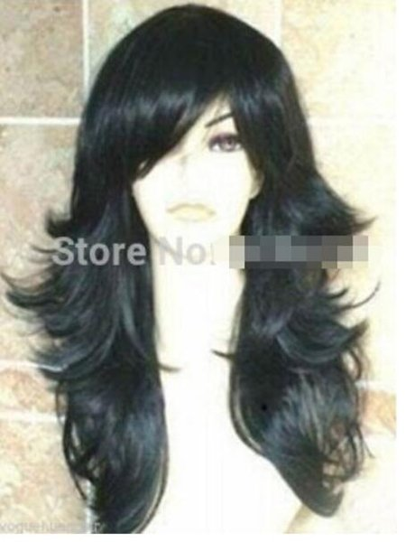 FREE SHIPPING+ Fashion New Black Long Oblique Bangs Synthesis Cosplay Women Hair Full Wig