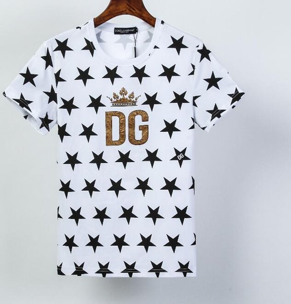 2020 nuevo estilo clásico de las letras CDG venta de la camisa así camisa deportiva camisa de algodón del ocio de la moda T Una corona Impreso lentejuelas
