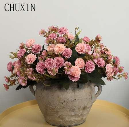 DIY artificial silk 11 flower heads carnation bouquet home bedroom decoration fake flower wedding scene layout photography props