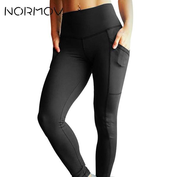 Normov Pocket Yoga Pants Women High Waist Push Up Leggings Sport Femme Running Fitness Clothing C19041701