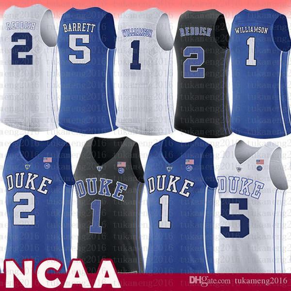 quality design 394a0 9f267 2019 Mens NCAA 1 Zion Williamson Duke Blue Devils College Jersey 5 R.J. RJ  Barrett 2 Cameron Reddish University Basketball Jerseys Blue White From ...
