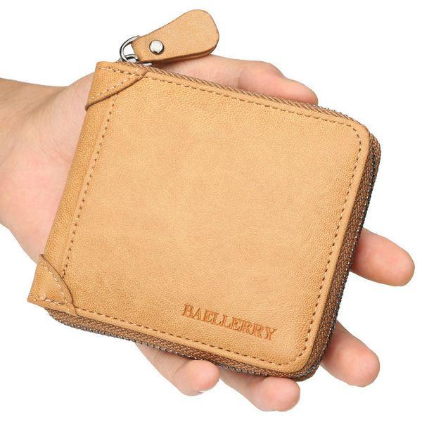 Men's Wallet New Fashion PU Wearproof Waterproof Wholesale High Quality Classic Male Short Fund Leisure Zipper Purse Leather Solid