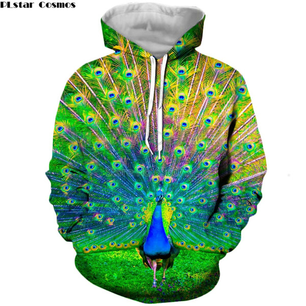 PLstar Cosmos 2019 Yeni Moda hoodies hayvan tavuskuşu 3D Tam Baskı Erkek Kadın hoodie streetwear Rahat sudadera hombre TM-597