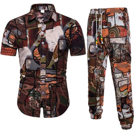 Mens Tracksuit Spring and Autumn New Fashion Mens Short Sleeve Casual Flower Shirt Set Large Size M-5XL