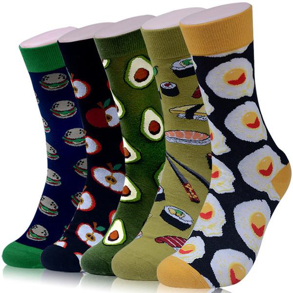 Men Socks Funny Skate Cartoon Avocado Apple Egg Hamburger Happy Harajuku Hip Hop Street Style Fashion Cotton Short Socks