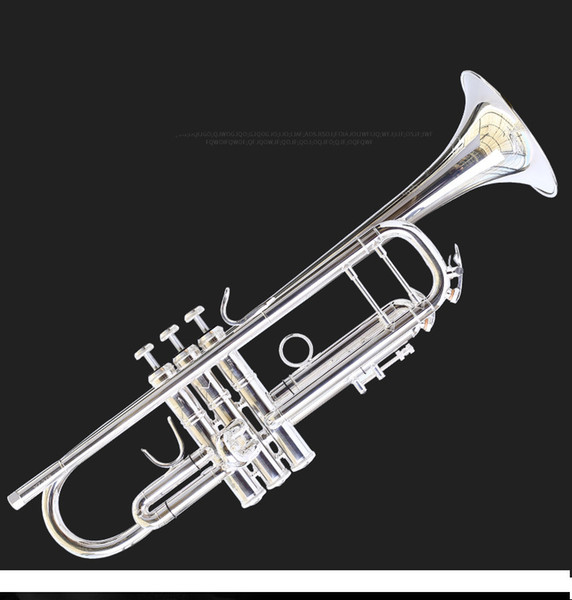 YZ-37S silver plated trumpet musical instrument drop B one integrated speaker carved beginner band promotions With case free shipping