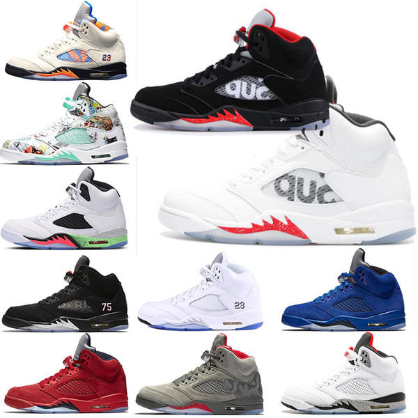 Sup Bred Toe psg pairs 5s Og1 mens basketball shoe wings Black Grape white cement Olympic Metallic Gold Silver designer sneaker shoes Gym