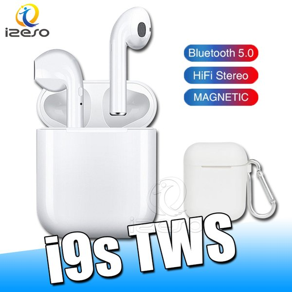 i9s TWS Wireless Bluetooth Earphones Stereo Headphones Mini arbuds with Magnetic charger case Silicone Protector Cover Anti Lost Rope
