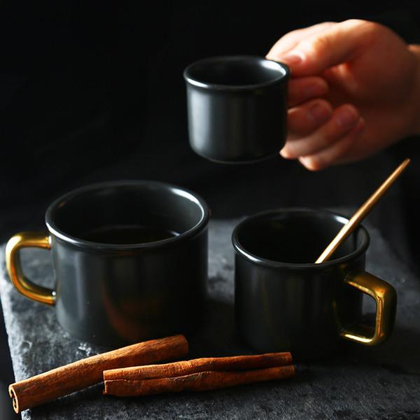 New Tumblers Mug Cups Ceramic Coffee Beer Mugs Milk Mate Black Water Drinking Cup 80ml 150ml 250ml 425ml HH9-2211