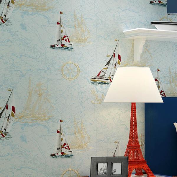 Acheter Nouveau Style Méditerranéen Papier Mur De La Chambre Des Enfants  Vert Bébé Garçon Fille Chambre Ciel Bleu Dessin Animé Voilier Maison Décor  De ...