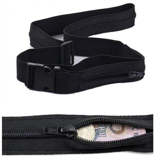 Cinturón de dinero Paquete de la cintura Hombres Mujeres Paquete de la cintura Viaje Antirrobo Monedero Cinturón con compartimiento secreto Ocultar escondite Bolsa dinero # 31560