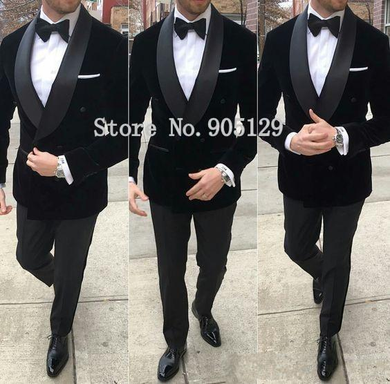 Classic Style Double Breasted Black Velvet Groom Tuxedos Shawl Lapel Groomsmen Men Blazers Suits (Jacket+Pants+Tie) NO:495