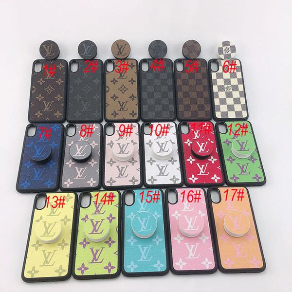 Toptan Lüks Deri Marka Logo Tasarımcısı Telefon Kılıfı Deri Telefon Arka Kapak Ile iPhone X XS Max XR 8 7 Artı