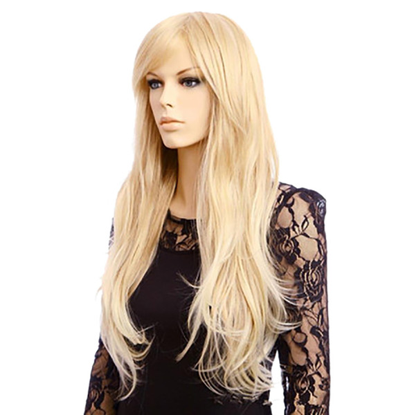 Factory price 1pc Women Fashion Lady Gold 65cm Long Straight Hair Cosplay Micro-volume Party Wigs Stand Fashion Jan10
