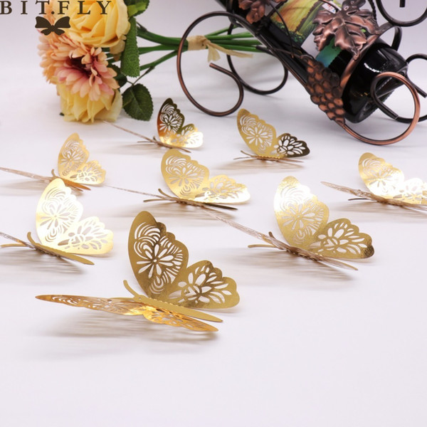 12pcs gold 3D Wall Stickers Butterflies Butterflies Hollow DIY Home Decor Poster Kids Rooms Wall Decoration Party Wedding Decor C18122201
