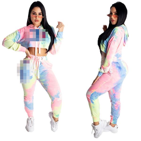 2019 Women Champions Hooded Tracksuit Long Sleeve Crop Hoodie Pants Leggings Fashion Sportswear Gradient Outfit Street Suit C51405 From Sweet Moon 16 93 Dhgate Com