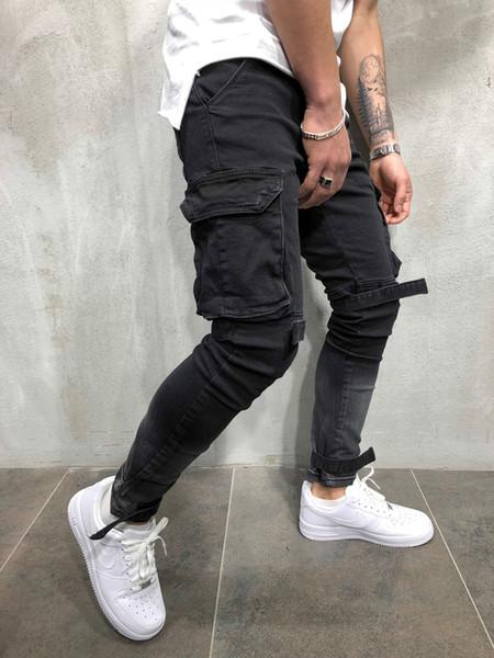 Jeans Homme Nouveau Automne Hiver Hommes Jeans Noir Grandes Poches Designer Biker Pencil Pantalon Hiphop Jean
