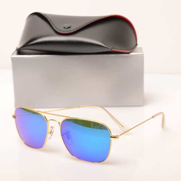 10PCS mens sunglasses glass lens 3136 sun glasses Color lens Mirror sunglasses womens glasses fashion new design sun glasses with cases boxs