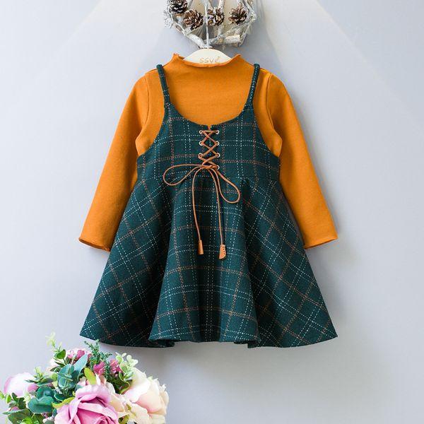 Vestito da ragazza 2017 Autumn Girl Plaid Wool Dress Orange T-shirt + Dress 2 pezzi Autunno manica lunga Dress