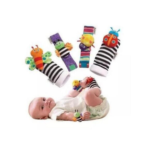 top popular 2020 New Arrival Wrist Rattle & Foot Finder Baby Toys Baby Rattle Socks Plush Wrist Rattle+Foot Baby Socks DHL Free Ship 1000pcs 2020
