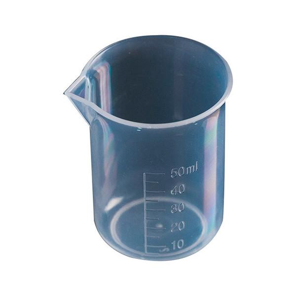 50 ml und 100 ml kunststoff glas graduiert messbecher krug becher küche lab werkzeug flüssigkeit messwerkzeug pp becher T1I413