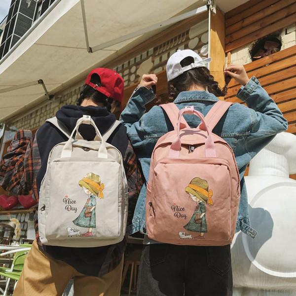 Harajuku Karikaturdruck Rucksäcke Frauen Bookbag Große Kapazität Nylon Frauen Laptop Reiserucksäcke Mädchen Schul Kawaii Rucksack