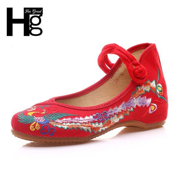 Ayakkabı Hee Grand Etnik Kadınlar Düşük Topuklu Loafer'lar Çin Düğün Nakış Dans kadın Tuval Kadın Artı Boyutu 43 Xwd6067