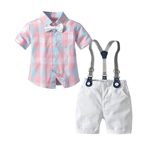 2019 new Summer baby boys suits baby boy clothes Boys Clothing Sets bow tie shirts+ suspender shorts Kids Outfits kids clothes 1-4t A5529