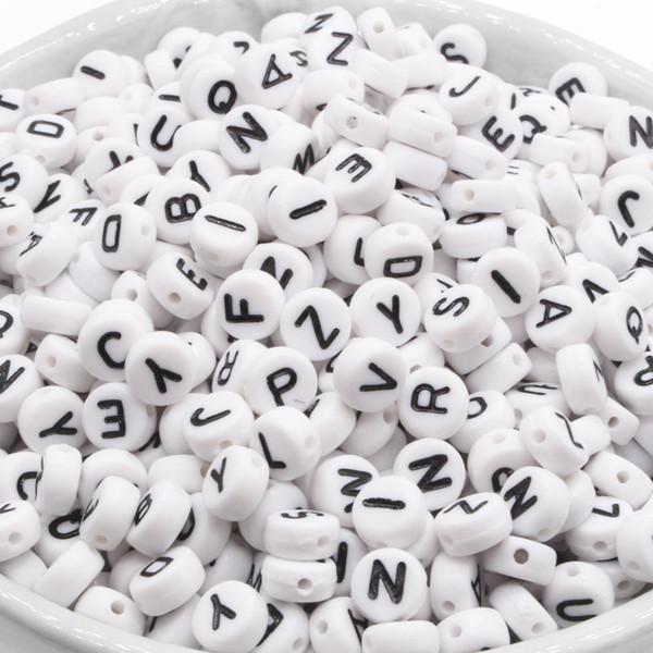 Perle di lettera acrilica di colore della miscela rotonda di 300pcs per monili che fanno il materiale fai-da-te diy distanziatore allentato 4 * 7mm