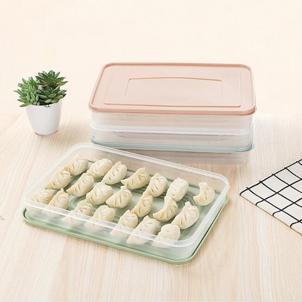 2019 Kitchen Storage Plastic Freezer Space Saver Refrigerator Dumplings  Storage Box With Cover Food Fruit Storage Organizer Holder Tray Boxes From