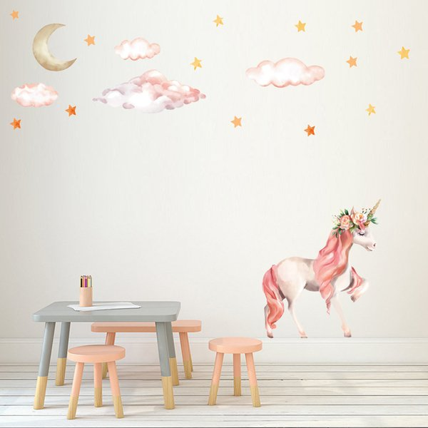 Cartoon Unicorn Star Wall Stickers for Kids Rooms Girls Rooms Bedroom Decor PVC Animal Stickers on the Wall Decal Nursery Room