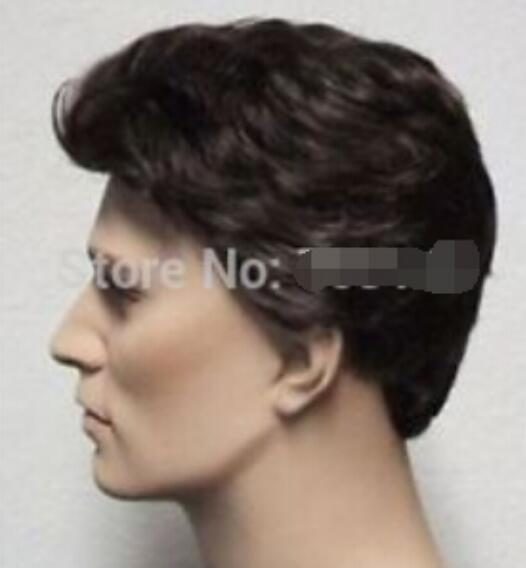 FREE SHIPPING+ + Handsome short brown straight mens party mans full hair cosplay wig male man's men Kanekalon hair wigs