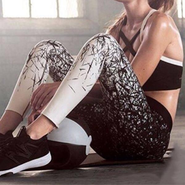 Pantaloni di yoga di colore Pantaloni di yoga delle donne Pantaloni sportivi di alta elastico Leggings sportivi sottili Esecuzione di Sportswear sportivo # 655623