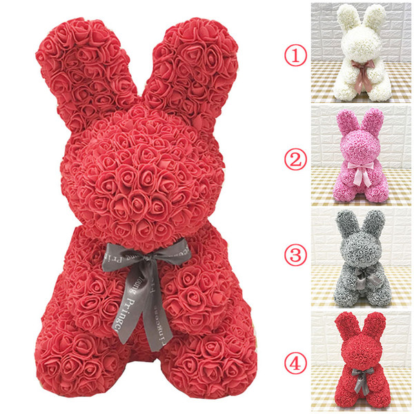 Artificial Rose Gift Girlfriend Lovely PE Rabbit Romantic Birthday Dolls Love Toy Simulated Decorations