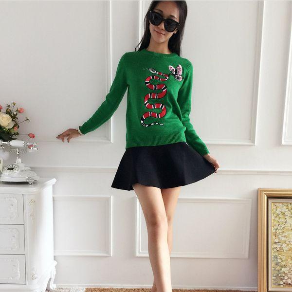 Spring Ladies Sweater New Trend Sweater Slim Cartoon Pattern Pullover Sweater Round Neck Designer Shirt High Quality Long Sleeve