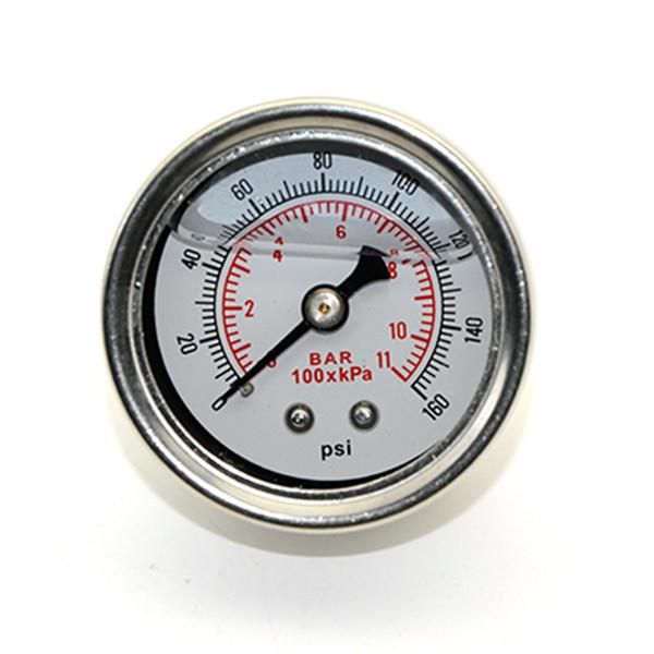 Medidor de presión de combustible Líquido 0-160 psi Medidor de presión de aceite Medidor de combustible Cara blanca Universal 1/8 NPT