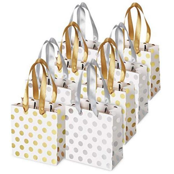 Sacchetto di carta a pois oro e argento Sacchetto di carta festival Pacchetto regalo Moda Borse per la spesa con maniglia per matrimoni Vacanza di compleanno