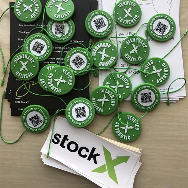 2019 Stokta X OG QR Kod Etiket Yeşil Dairesel Etiketi Plastik Ayakkabı Toka StockX Onaylı X Otantik Yeşil Etiket