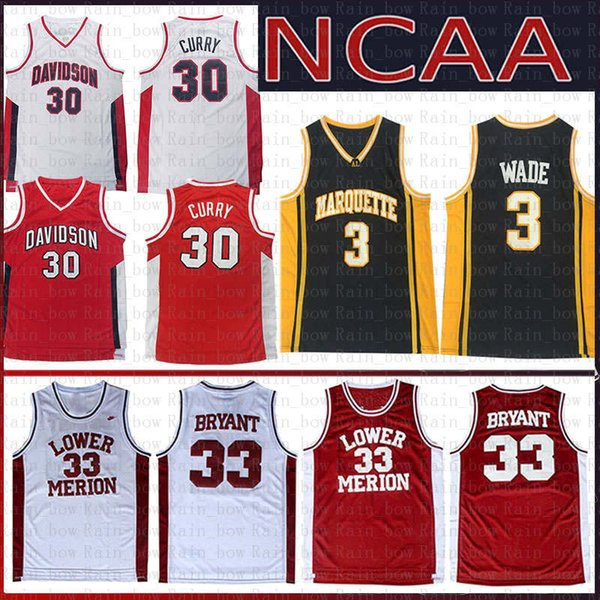 30 Stephen NCAA Curry Davidson Wildcats College Basketball Jersey Dwyane 3 Wade Marquette Golden Eagles Kobe 33 Bryant Lower Merion Jerseys